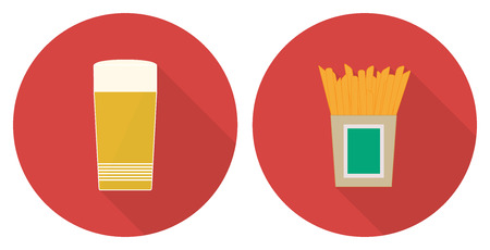 Flat vector illustration set - glass of beer and French fries on red backdrops