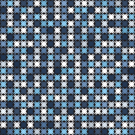 Abstract pattern. Blue, white shapes. Seamless vector background with blue, gray and white shapes on black backdrop