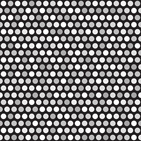 Polka dot pattern. Seamless vector geometric dot background - gray and white circles on black backdrop