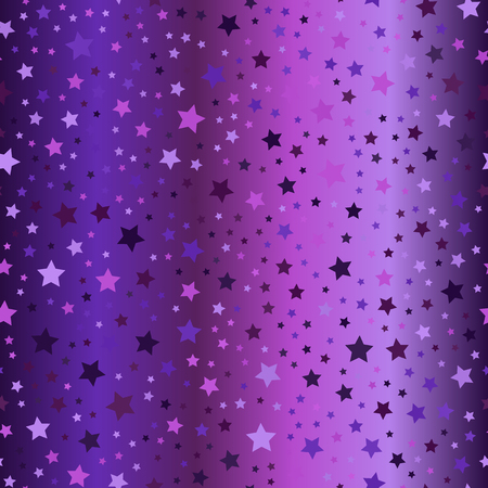 Glowing star pattern. Seamless vector background - amethyst, lavender, plum, purple, violet stars of different size on gradient backdrop Illustration