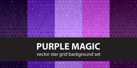 Star pattern set Purple Magic. Vector seamless backgrounds - amethyst, lavender, plum, purple, violet stars on gradient backdrops