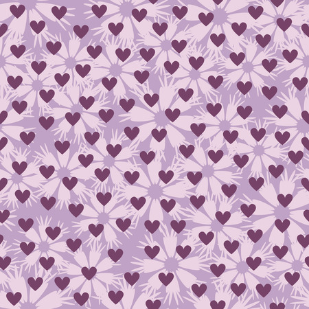 Flower pattern with hearts. Seamless vector background - light lilac flowers and hearts on violet backdrop
