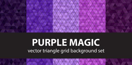 Triangle pattern set Purple Magic. Vector seamless geometric backgrounds - amethyst, lavender, plum, purple, violet triangles on black backdrops