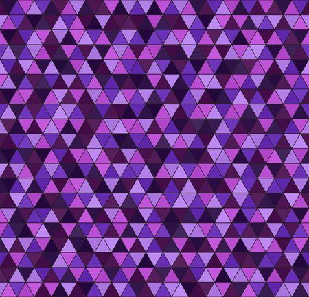 Triangle pattern. Seamless vector background - amethyst, lavender, plum, purple, violet triangles on black backdrop Illustration