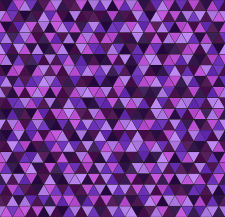 Triangle pattern. Seamless vector background - amethyst, lavender, plum, purple, violet triangles on black backdrop 向量圖像