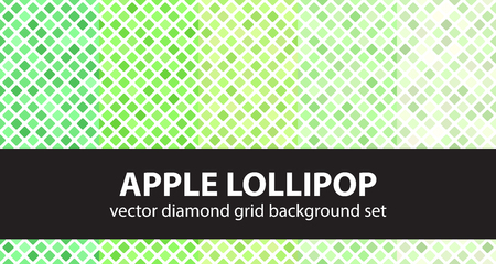Diamond pattern set Apple Lollipop. Vector seamless geometric backgrounds - green rounded diamonds on white backdrops