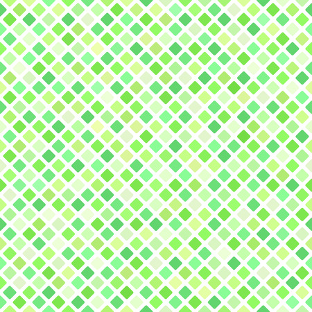 Diamond pattern. Seamless vector background - green rounded diamonds on white backdrop