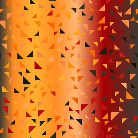 jonquil: Glowing triangle pattern. Seamless vector background - red, peach, black, orange, pumpkin right triangles on gradient backdrop