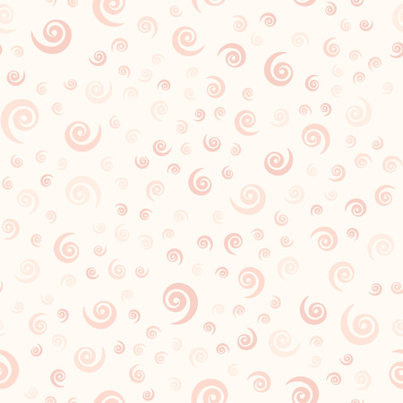 Rose spiral pattern. Seamless vector background - red vortexes on light pink backdrop