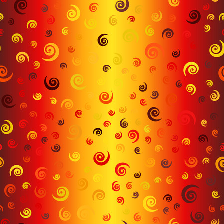 Glowing chaotic spiral pattern. Seamless vector vortex background - maroon, red, orange, gold, yellow spirals on gradient backdrop