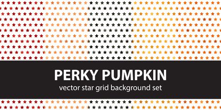 Star pattern set Perky Pumpkin. Vector seamless backgrounds - red, peach, black, orange, pumpkin stars on white backdrops