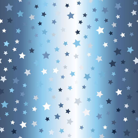 Glowing chaotic star pattern. Seamless vector magic background - blue, gray and white stars on gradient backdrop