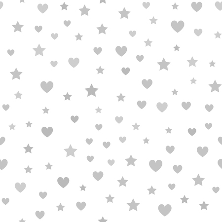 Gray heart, star pattern. Seamless vector chaotic background - gray hearts and stars on white backdrop