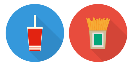 Flat vector illustration set, cup of cola and French fries. Illustration