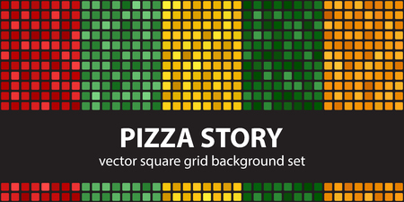 Square pattern set Pizza Story. Vector seamless geometric backgrounds - red, light green, yellow, green, orange rounded squares on black backdrops