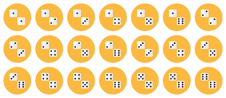 Pairs of dices vector flat icon set - all possible combinations of white dices on yellow backdrops Фото со стока - 85121566