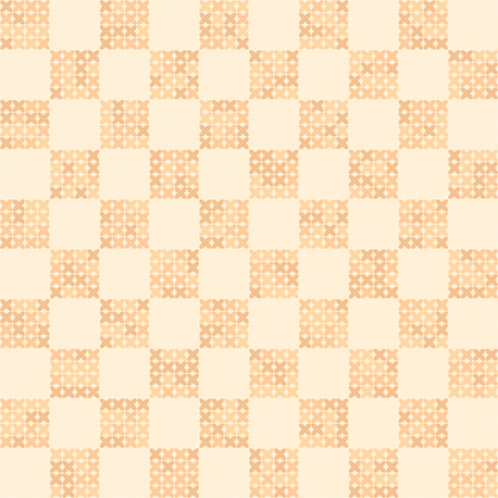 Cross-stitched pattern. Seamless vector background - peach crosses on light beige gridded backdrop