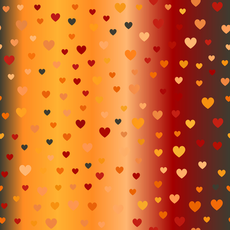 Glowing chaotic heart pattern. Seamless vector background - red, peach, black, orange, pumpkin hearts on gradient backdrop Illustration