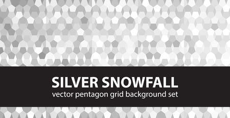 gradient: Pentagon pattern set Silver Snowfall. Vector seamless geometric backgrounds - gray, silver and white pentagons on gradient backdrops Illustration