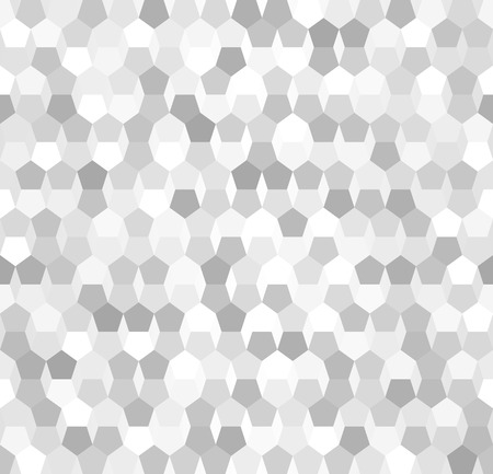 Seamless pattern of silver gradient pentagon in white and gray color Çizim
