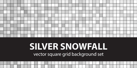 arsenic: Square pattern set Silver Snowfall. Vector seamless geometric backgrounds - gray, silver and white squares on black backdrops