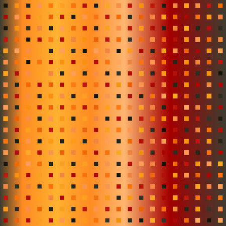 Glowing square pattern. Seamless vector gradient background - red, peach, black, orange, pumpkin squares on gradient backdrop Illustration