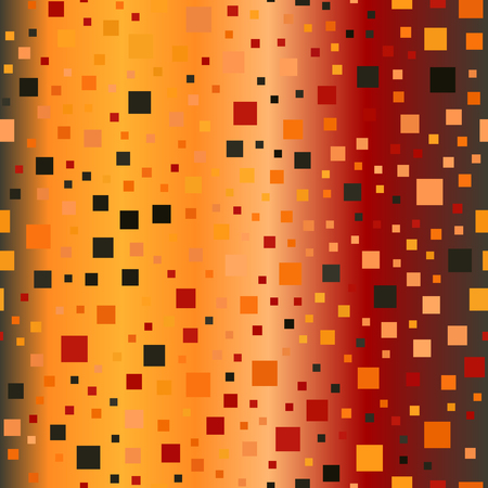 Gradient square pattern. Seamless vector glowing background - red, peach, black, orange, pumpkin squares on gradient backdrop