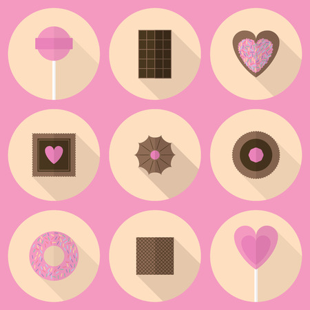 Various sweets flat icon set in pink and brown tones. Lollipops, cookies, chocolate, waref, donut on beige circular backdrops