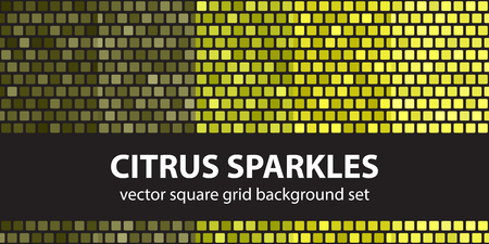 Square pattern set Citrus Sparkles. Vector seamless tile backgrounds - yellow, olive, yellow-green, khaki rounded squares on black backdrops