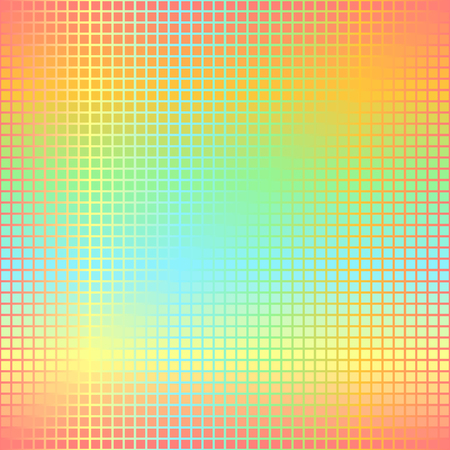 Glowing square pattern. Seamless vector gradient background - red, orange, yellow, green, blue squares on gradient backdrop