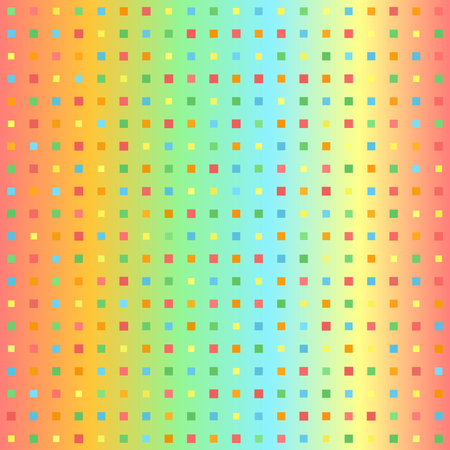 Glowing square pattern. Seamless vector gradient background - red, orange, yellow, green, blue squares of different size on gradient backdrop