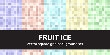 Square pattern set Fruit Ice. Vector seamless tile backgrounds - violet, rose, cyan, yellow, green squares on white backdrops