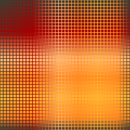 Glowing rounded square pattern. Seamless vector background - red, peach, black, orange, pumpkin squares on gradient backdrop