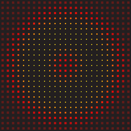Square pattern. Seamless vector background - maroon, red, orange, gold, yellow squares on black backdrop