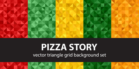Triangle pattern set Pizza Story. Vector seamless geometric backgrounds with red, light green, yellow, green, orange right triangles Vector Illustration