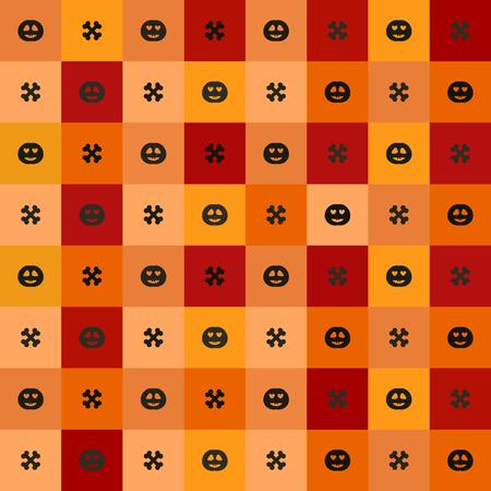 Halloween pattern. Seamless vector background - grinning pumpkins, pumpkins in love and crossed bones on red, peach, black, orange, pumpkin squares Çizim