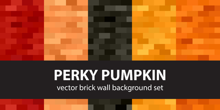 Rectangle pattern set Perky Pumpkin. Vector seamless brick wall backgrounds with red, peach, black, orange, pumpkin rectangles Illustration