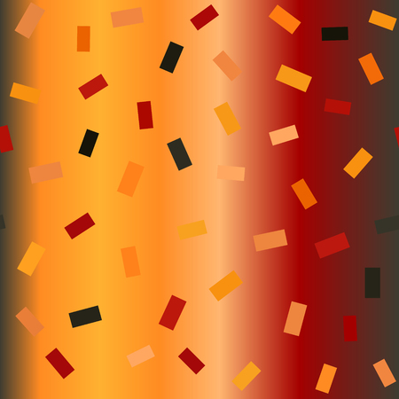 Glowing rectangle pattern. Seamless vector chaotic background - red, peach, black, orange, pumpkin rectangles on gradient backdrop Illustration