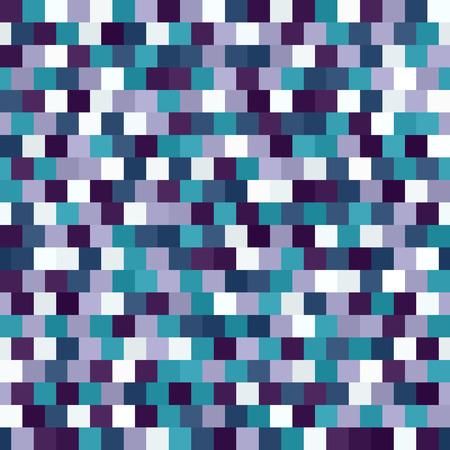 Square pattern. Seamless vector background with amethyst, blue, green, lavender, purple, teal, white squares Illustration