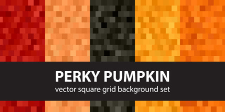 Square pattern set Perky Pumpkin. Vector seamless tile backgrounds with red, peach, black, orange, pumpkin squares