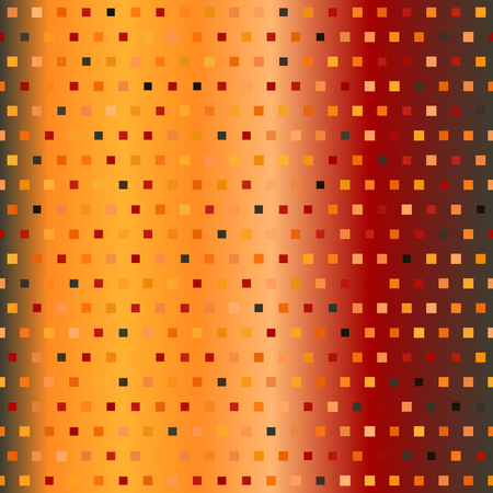 Glowing square pattern. Seamless vector multicolor background - red, peach, black, orange, pumpkin squares of different size on gradient backdrop