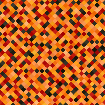 Colorful pixelated pattern. Seamless vector background with red, peach, black, orange, pumpkin diamonds