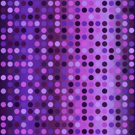 Glowing polka dot pattern. Seamless vector background - amethyst, lavender, plum, purple, violet circles on gradient backdrop Illustration