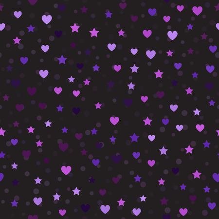 Heart and star pattern with spots. Seamless vector background - amethyst, lavender, plum, purple, violet hearts, stars and spots on black backdrop