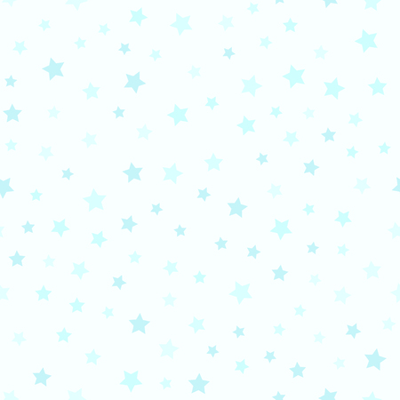 Cyan star pattern. Seamless vector background - blue stars on light cyan backdrop. Çizim