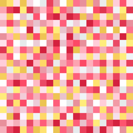 Square pattern. Pixel vector seamless background with yellow, rose, white, orange, gray squares