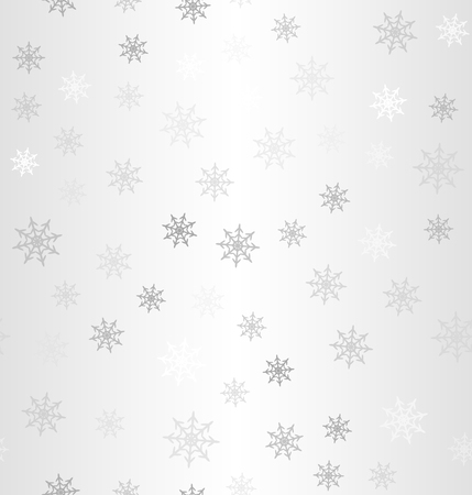 Gradient snowflake pattern. Winter vector seamless background - gray, silver and white snowflakes on gradient backdrop Illustration