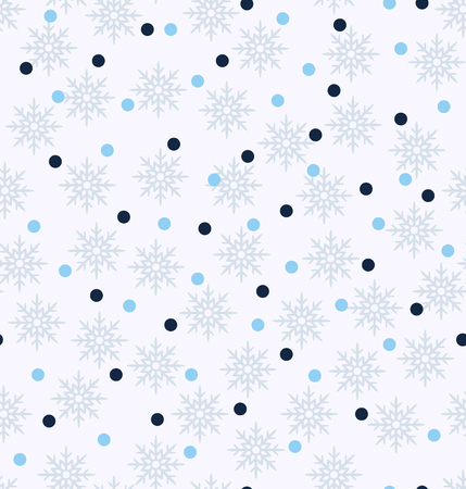 Winter pattern. Seamless vector background - blue, light blue and gray snowflakes and dots on white backdrop Vettoriali