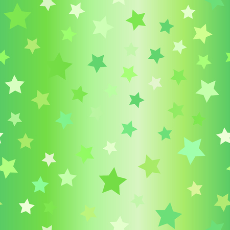 Glowing star pattern. Seamless vector background - green five-pointed stars on gradient backdrop