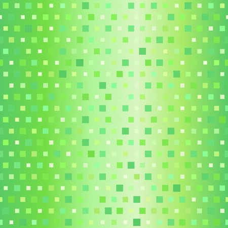 Seamless vector background - green squares of different size on gradient backdrop